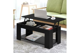 Lift Up Top Coffee Table Tea Side Interior Storage Space Shelf Black