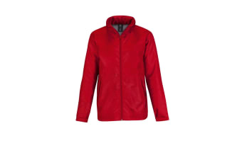 B&C Mens Multi Active Hooded Fleece Lined Jacket (Red/ Warm Grey) (L)