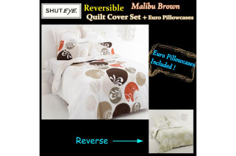 Malibu Brown QUEEN Quilt Cover Set + Euro Pillowcases by Shuteye