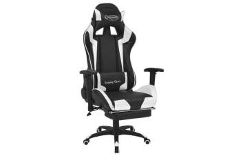 vidaXL Reclining Office Racing Chair with Footrest White
