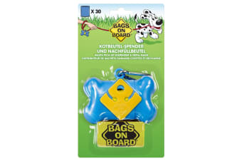 Bags on Board Bone Poo Bag Dispenser Blue With 30 Bags (Blue) (One Size)