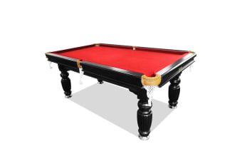 7FT Luxury Slate Pool Table Solid Timber Billiard Table Professional Snooker Game Table with Accessories Pack, Black Frame / Red Felt