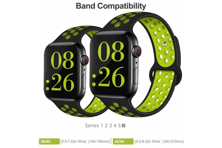 For Apple Watch Band Series 5 4 3 2 Sport Silicone iWatch Strap Band Wristband 42mm/44mm-Black Blue