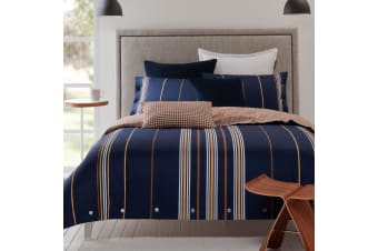 Tulie Navy Reversible Cotton Sateen Quilt Cover Set Queen by Designers Choice