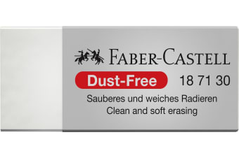FABER-CASTELL ERASER FABER-CASTELL MEDIUM DUST FREE WITH SLEEVE WHITE BX360