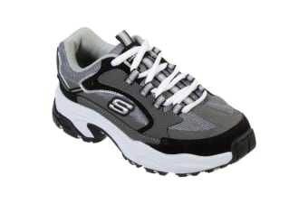 Skechers Boys Stamina Cutback Leather Lace Up Trainer (Charcoal/Black) (12.5 UK Child)