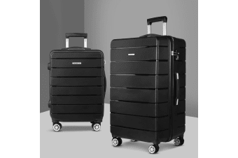 2PC PP Luggage Sets Suitcases TSA Travel Lightweight Hard Case BK