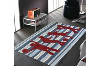 Striped Kids Rug Blue and Burgundy