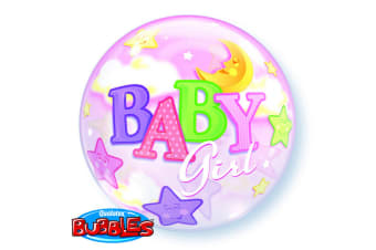 Qualatex 22 Inch Single Baby Boy/Girl Moon & Stars Design Bubble Balloon (Pink)