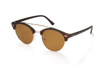 Mestige Women's Kingston Sunglasses Eyewear Shield Mono Lens Glasses Brown/Gold