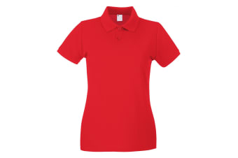 Womens/Ladies Fitted Short Sleeve Casual Polo Shirt (Bright Red)