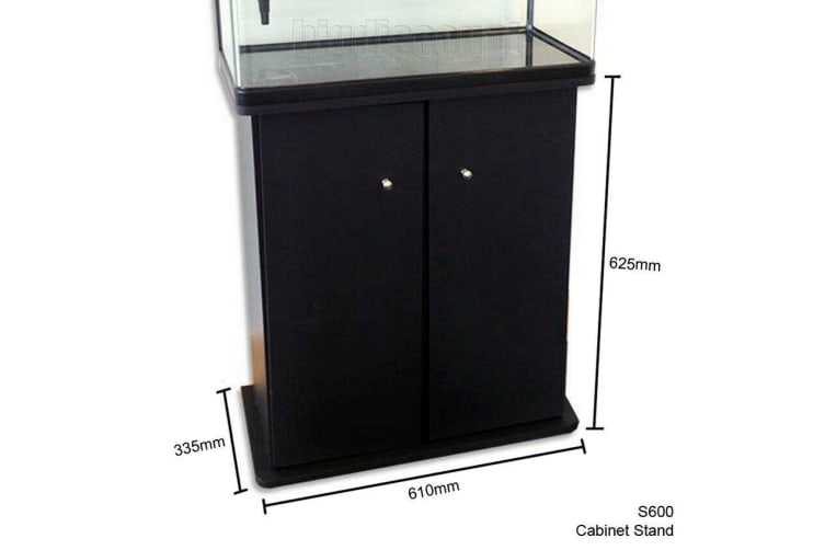100L Fish Tank & Cabinet Stand Aquarium Curved Glass Filter Pump Light