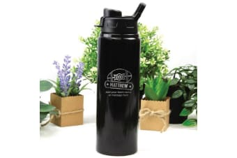 Football Coach Engraved Water Drink Bottle Black