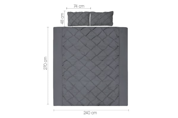 Giselle Bedding Diamond Stitch Quilt Cover Set (Super King/Charcoal)