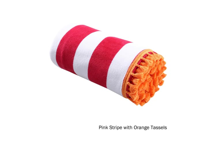 Stripe Summer Towel Pink with Orange Tassels by Home Innovations