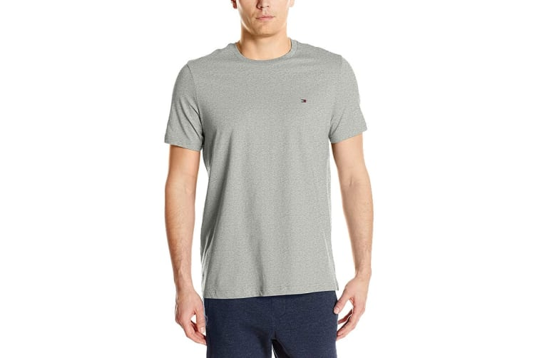 Tommy Hilfiger Men's Crew Neck Flag Tee (Grey Heather, Size L)