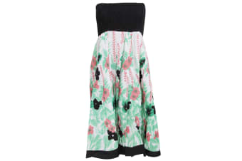Ladies/Womens Floral And Leaf Print 2 In 1 Summer Dress/Skirt (Black) (Small)