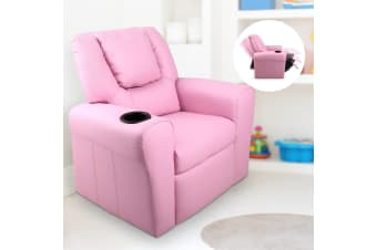 Artiss Kids Recliner Sofa Children Lounge Chair Padded PU Leather Armchair Pink