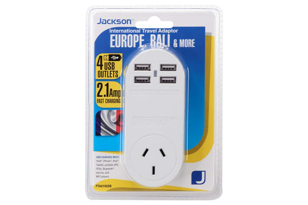 Jackson 1 Outlet Travel Adapter with 4 x USB Charging port - EU (PTA410USB)