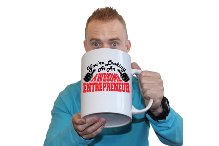 123T Novelty Funny Giant 2 Litre Mugs - Entrepreneur Youre Looking Awesome