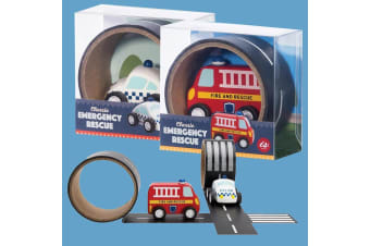 Wooden Emergency Truck & Reusable Road Tape - Police Car
