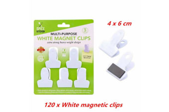 120 x All Purpose White Magnetic Clip Fridge Wall Memo Note Holder Clips Magnet Hook