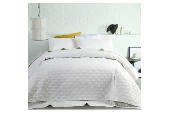 OPACO Embossed Quilted Coverlet Set Queen/King White by Accessorize