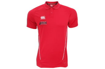 Canterbury Mens Team Dry Moisture Wicking Polo Shirt (Red/White)