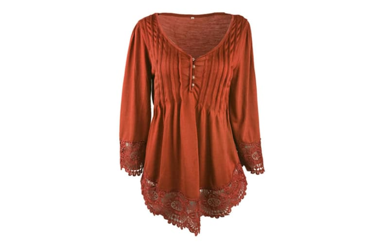 Women's Flare Sleeve Lace Splice Loose Trim Casual Blouse T-shirt Tops XL