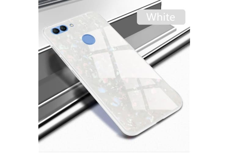 Shiny Seashell Pattern Tempered Glass Hard Back Cover Shell For Huawei White P10