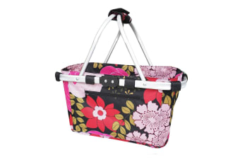 Sachi Carry Shopping Basket Collapsible Tote for Picnic Camping Floral Blooms