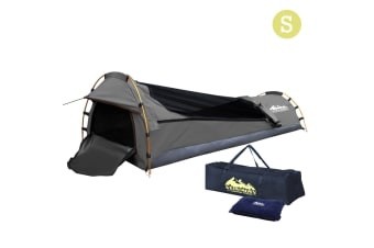 Single Camping Canvas Swag with Bag (Grey)