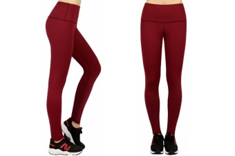 Women'S Yoga Capris Power Flex Running Pants Workout Leggings Wine Red Xl