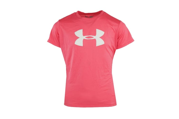 Under Armour Girls' UA Big Logo Graphic T-Shirt (Pink/White, Size XS)