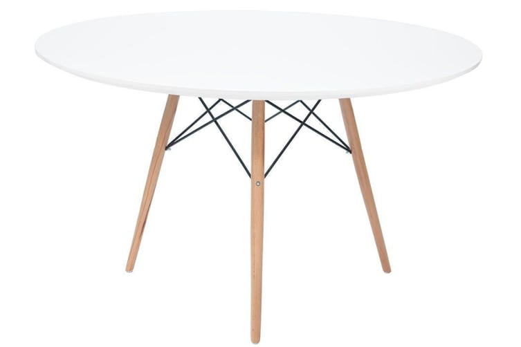 Replica Eames DSW Eiffel Dining Table | White | Natural Wood Legs | 100cm