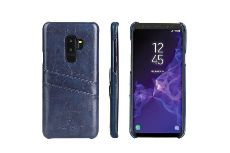 For Samsung Galaxy S9+ PLUS Blue Deluxe Leather Back Wallet Card Slots Case