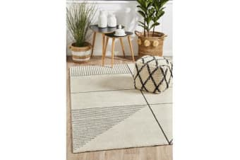 Carter Ivory & Charcoal Super Soft Contemporary Rug 340x240cm