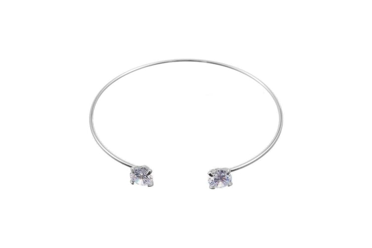 Intrigue Womens/Ladies Round Cubic Zirconia Bangle (Silver) (One Size)