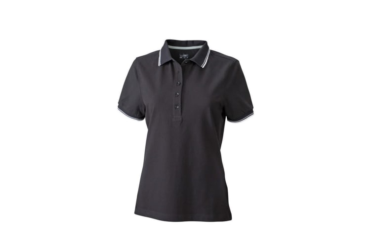 James and Nicholson Womens/Ladies Coldblack Polo (Black/White/Grey) (XL)