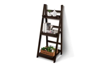 3/5 Tier Wooden Ladder Shelf Stand Storage Book Shelves Shelving Display Rack  -  3 Tiers in Coffee