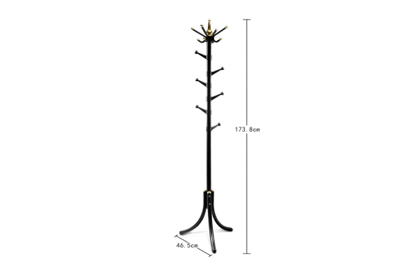 14 Hooks Tree Style Metal Coat Rack for Hats, Bags, Clothes - Black