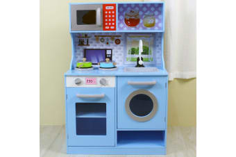 Gem Toys 90cm Kids Wooden Kitchen Playset w/Oven/Sink/Dishwasher/Microwave Blue
