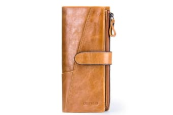 Men Faux Leather Bifold Wallet Checkbook Organizer Card Case 12 Cards Sand