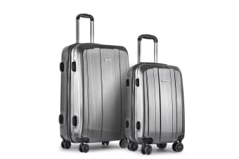 Set of 2 Premium Hard Shell Travel Luggage with TSA Lock (Grey)