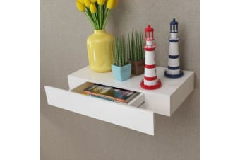vidaXL White MDF Floating Wall Display Shelf 1 Drawer Book/DVD Storage