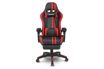 Home Office Computer Gaming Chair w/ Footrest and Tilt - Red/Black
