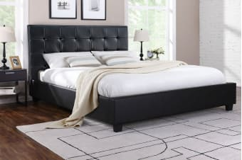 Ovela Bed Frame - Lucca Collection (Black, Queen)