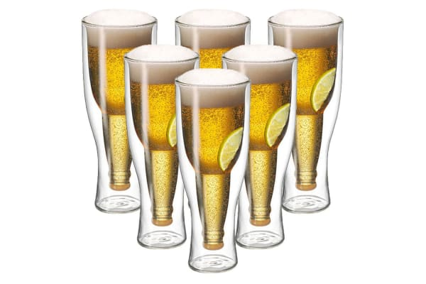 6pc Avanti Top Up Beer Glass 400ml Bar Bottle Party Drinking Insulated Gift