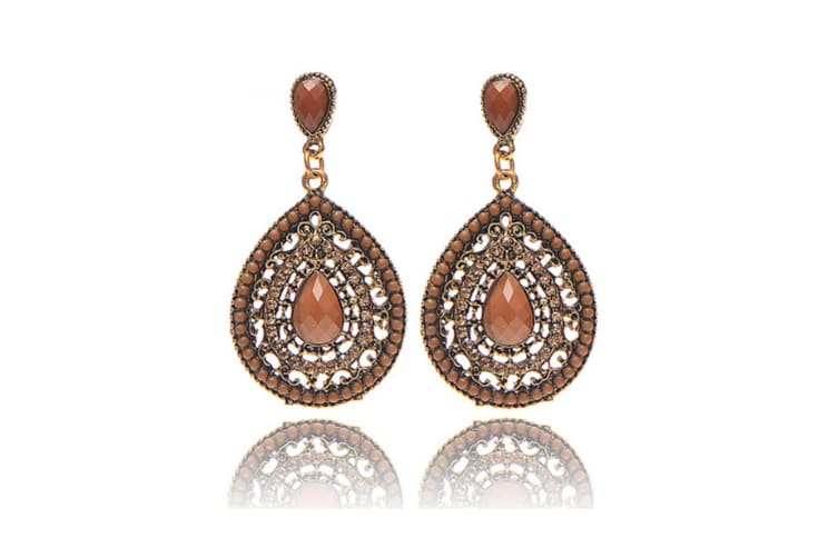 Simple Vintage Women Long Waterdrop-shaped Drop Hollow Out Earings Coffee