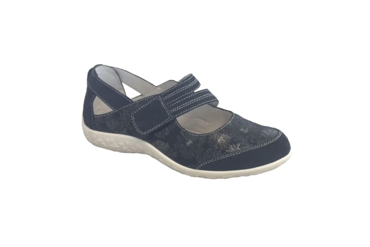 Boulevard Womens/Ladies Touch Fastening EEE Fit Bar Suede Floral Shoes (Navy Blue) (8 UK)